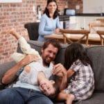 happy family plays