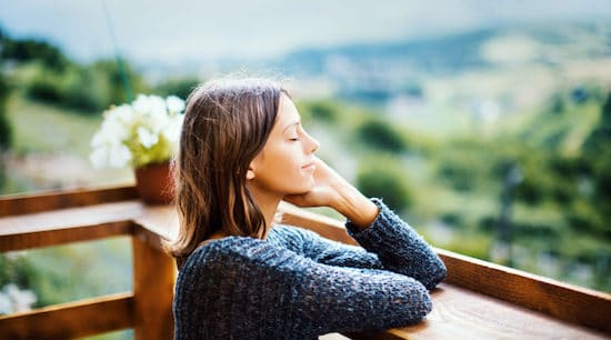 woman enjoying outside fresh air