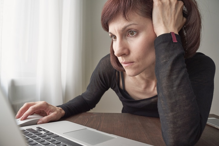 woman with ptsd on telehealth appointment
